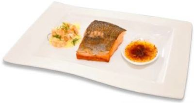 Fillet of Baltic salmon with crème brûlée and crayfish salad